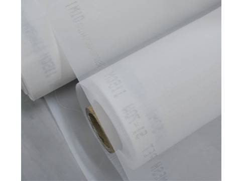 Two rolls of white nylon woven filter mesh cloth.
