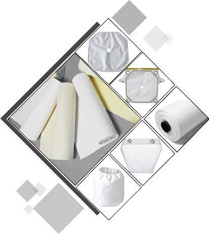 A picture includes filter cloth rolls and filter cloth plates in white or yellow color.